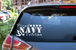 Proud Navy Veteran, 5 inch, military, vinyl decal
