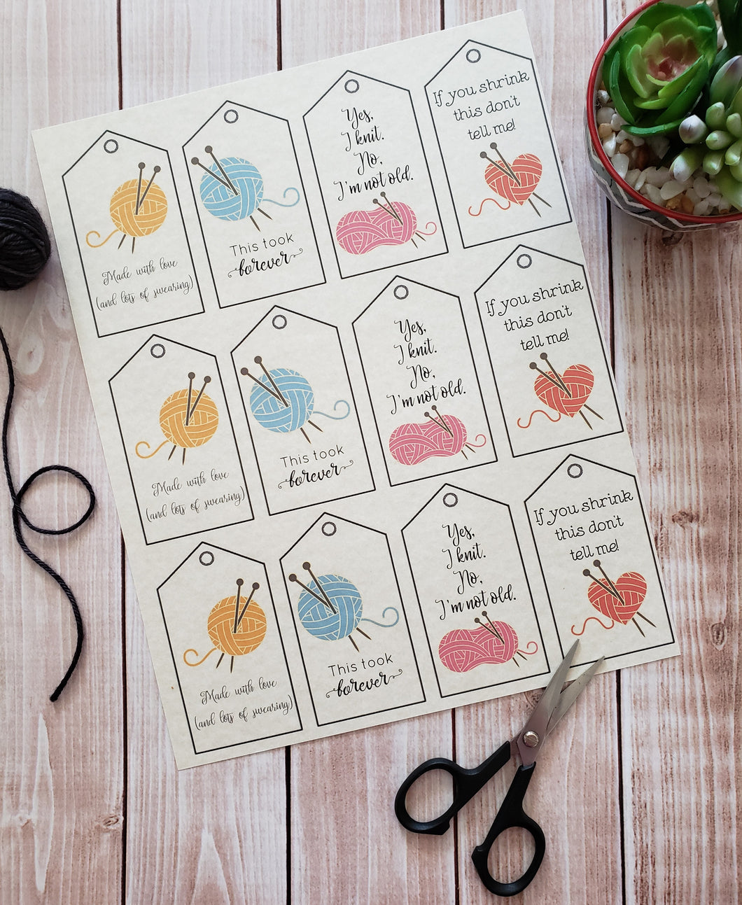 Humorous Double Sided Knitting Quote Gift Tag With Blank Care Instructions - PDF File Only - Instant Download