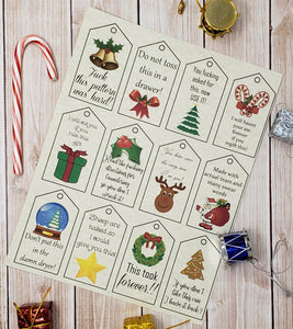 Swearing Christmas Craft Double Sided Gift Tag - PDF File Only - Instant Download - Knitting Crochet Present Label
