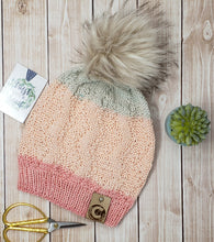 Load image into Gallery viewer, Peach Detachable Pom Pom Hat - Adult Size - Women's Winter Hat - Hand Knit