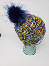Load image into Gallery viewer, Rainbow Detachable Pom Pom Hat - Adult Size - Women's Winter Hat - Hand Knit
