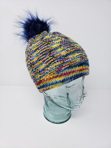Rainbow Detachable Pom Pom Hat - Adult Size - Women's Winter Hat - Hand Knit