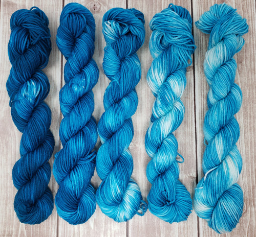 Deep Blue Sea Mini Skein Set - Sock/Fingering Weight - Hand Dyed Yarn