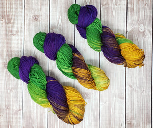 Mardi Gras -Sock/Fingering - DK Weight - Sport - Bulky - Super Bulky - Hand Dyed Yarn