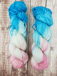 Cotton Candy - Sock/Fingering - DK Weight - Worsted -  Bulky - Super Bulky - Hand Dyed Yarn