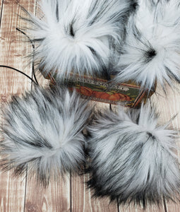 White with Black Tip Luxury Faux Fur Pom Poms