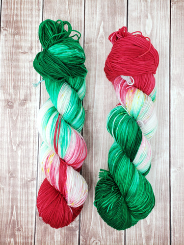 Merry and Bright - Sock/Fingering - DK Weight - Hand Dyed Yarn