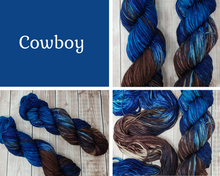 Load image into Gallery viewer, Cowboy - Sock/Fingering  - DK Weight - Worsted - Hand Dyed Yarn