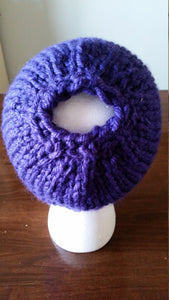 Purple Chunky Hand Knit Messy Bun Hat - Mom Ponytail Beanie - Women's Winter Toque