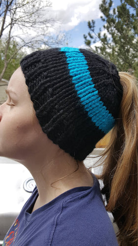 Black Blue Chunky Hand Knit Messy Bun Hat - Mom Ponytail Beanie - Women's Winter Toque