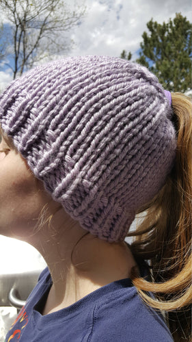 Lavender Chunky Hand Knit Messy Bun Hat - Mom Ponytail Beanie - Women's Winter Toque