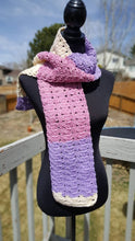 Load image into Gallery viewer, Pink Purple Cream Hand Crocheted Hat Scarf Set - Womans Winter Toque Neck Wrap - Gift For Her