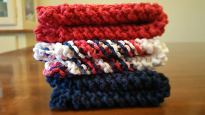 Patriotic Red White Blue Hand Knit Dish Cloth Set - Eco Friendly Cloths - Kitchen Wash Cloth