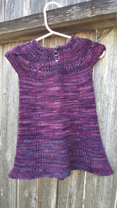 Hand Knit 1st Birthday Dress - Purple Baby Girl 9 to 12 month Clothes - Toddler Wedding Outfit