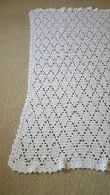 Load image into Gallery viewer, Hand Crocheted White Diamond Baby Blanket - Baby Shower Gift Idea