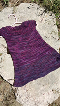 Load image into Gallery viewer, Hand Knit 1st Birthday Dress - Purple Baby Girl 9 to 12 month Clothes - Toddler Wedding Outfit