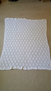 Hand Crocheted White Diamond Baby Blanket - Baby Shower Gift Idea