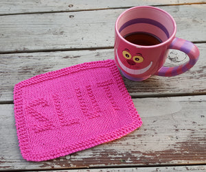 Cotton Kitchen Dish Cloth - Pink Slut Knitted Dishcloth - Environmentally Friendly - Modern Kitchen Decor