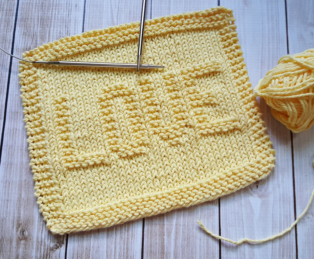 Yellow Love Hand Knit Cotton Dishcloth - Environmentally Friendly - Housewarming Gift