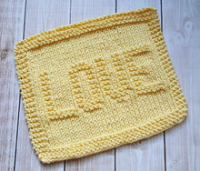 Load image into Gallery viewer, Yellow Love Hand Knit Cotton Dishcloth - Environmentally Friendly - Housewarming Gift