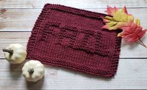 Environmentally Friendly - Maroon Fail Knitted Dishcloth - Cotton Kitchen Dish Cloth -  Modern Kitchen Decor