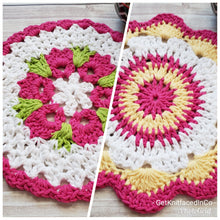 Load image into Gallery viewer, Flower Design Dish Cloth - Pink Yellow Green Cotton Crocheted Dishcloth Set - Round Kitchen Wash Cloths