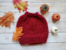 Load image into Gallery viewer, Red Chunky Hand Knit Messy Bun Hat - Mom Ponytail Beanie - Women's Winter Toque