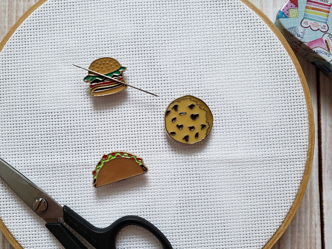 Cute Needle Minders - Cross-Stitch Needle Holder - Magnetic Needle Nanny - Hamburger Taco Cookie