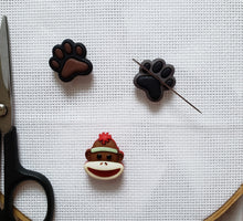 Load image into Gallery viewer, Cute Needle Minders - Cross-Stitch Needle Holders - Magnetic Needle Nanny - Dog Paw Sock Monkey