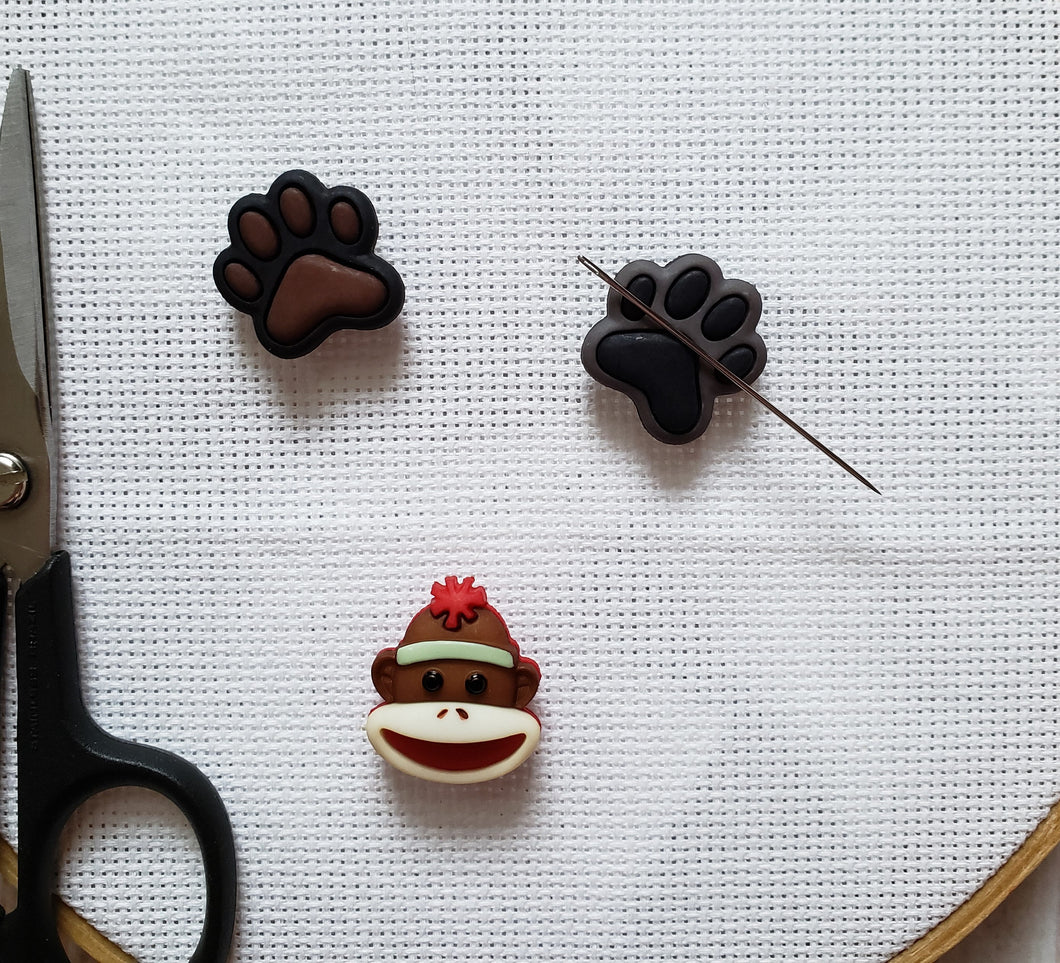 Cute Needle Minders - Cross-Stitch Needle Holders - Magnetic Needle Nanny - Dog Paw Sock Monkey