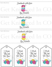 Load image into Gallery viewer, Kawaii Personalized  Knitting Quote Gift Tag - PDF File Only - Printable Knitting Label