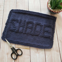 Load image into Gallery viewer, Blue Shade Hand Knit Cotton Dishcloth - Environmentally Friendly - Adult Humor