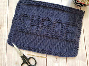 Blue Shade Hand Knit Cotton Dishcloth - Environmentally Friendly - Adult Humor