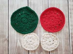 Green White Red Cotton Crocheted Washcloth Set - Round Kitchen Dish Cloths - Face Scrubber - Makeup Remover