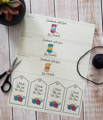 Kawaii Personalized  Knitting Quote Gift Tag - PDF File Only - Printable Knitting Label