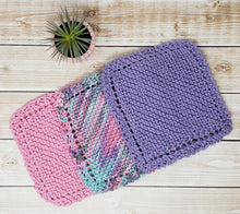Load image into Gallery viewer, Pink Blue Purple Hand Knit Baby Wash Cloth Set - Eco Friendly Cloths - Child Size Washcloth