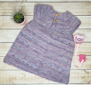 Hand Knit Newborn Baby Girl Dress - Coming Home Outfit - 0 to 3 Month Clothes
