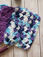 Load image into Gallery viewer, Blue Purple Cotton Crocheted Washcloth Set -Square Kitchen Dish Cloths - Make Up Remover