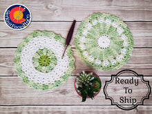 Load image into Gallery viewer, Green Cotton Crocheted Dishcloth Set - Flower Design Dish Cloth - Round Kitchen Wash Cloths