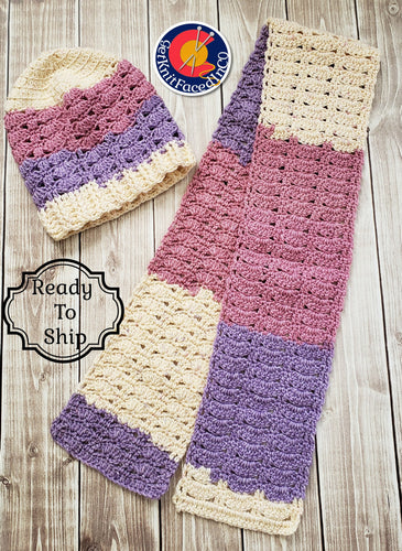 Pink Purple Cream Hand Crocheted Hat Scarf Set - Womans Winter Toque Neck Wrap - Gift For Her