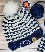 Load image into Gallery viewer, Blue White Chunky Detachable Pom Pom Hat - Adult Size - Women's Winter Hat - Hand Knit