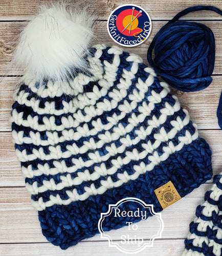 Blue White Chunky Detachable Pom Pom Hat - Adult Size - Women's Winter Hat - Hand Knit