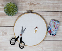Load image into Gallery viewer, Kawaii Ice Cream Cone Needle Minder - Cross-Stitch Needle Holder - Magnetic Needle Nanny