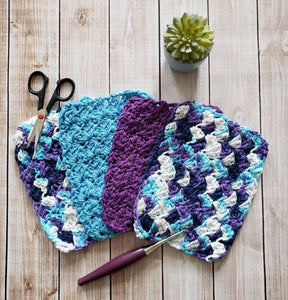 Blue Purple Cotton Crocheted Washcloth Set -Square Kitchen Dish Cloths - Make Up Remover