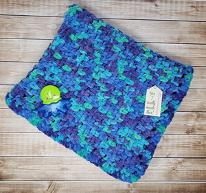 Blue Green Purple Hand Crocheted Baby Blanket - Car Seat Afghan - Baby Shower Gift Idea