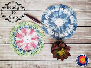 Blue Pink Green Cotton Crocheted Dishcloth Set - Flower Design Dish Cloth - Round Kitchen Wash Cloths