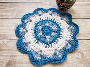 Blue Cotton Crocheted Dishcloth Set - Flower Design Dish Cloth - Round Kitchen Wash Cloths