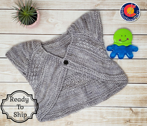 Hand Knit Baby Girl Sweater - 9 to 12 Month Old - Pearl Gray Merino Wool