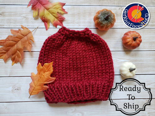 Red Chunky Hand Knit Messy Bun Hat - Mom Ponytail Beanie - Women's Winter Toque