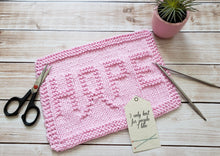 Load image into Gallery viewer, Pink Hope Dishcloth - Eco Friendly Cloth - Hand Knit Wash Cloth - Breast Cancer Awareness